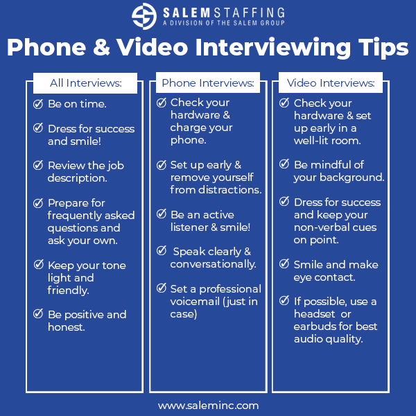 Salem Staffing Phone & Video Interview Tips